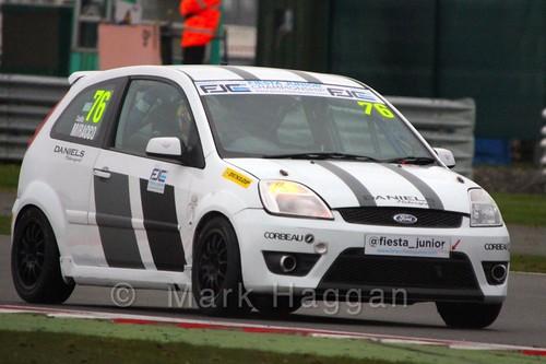 Carlito Miracco in BRSCC Fiesta Junior Championship at Silverstone, April 2015