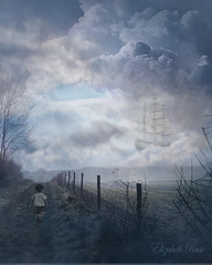 Skipper (elizabethruse) Tags: road boy sea sky mist field composite fairytale clouds fence dawn boat track ship dusk dream surreal dreaming fantasy tallship storybook cloudysky rainclouds softlight wishing imaginationblue