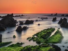 Sunset in Barrika II (Sergio Nevado) Tags: sunset sea seascape water atardecer mar agua rocks long exposure paisaje bizkaia vasco euskadi vizcaya rocas pais exposicion larga cantabrico barrika