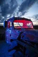 Blue-Red Pickup (Notley) Tags: blue light sunset red sky lightpainting tree abandoned night clouds truck evening midwest rearviewmirror pickuptruck missouri hour april bluehour redlight nocturne bluelight 2016 10thavenue notley ruralphotography ruralusa overtonmissouri notleyhawkins coopercountymissouri missouriphotography httpwwwnotleyhawkinscom notleyhawkinsphotography