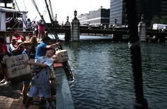 """Throw the tea in the sea"", Boston  - 1995 (Carneddau) Tags: usa boston bostonteaparty robertmurray inthesea stewartmurray"