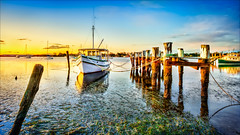THE CONNIE MARIA /   Hibbard wharf Sunset (Young Ko) Tags: blue light sunset vacation sky sun holiday reflection texture yellow composition landscape amazing interesting nikon colorful atmosphere nsw lonely portmacquarie hibbardwharf hastingsriverentrance