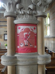Church cleaning (Nekoglyph) Tags: red christchurch white black art stone wooden bucket arch needlework yorkshire capital pillar historic cleaning needlepoint ornate cleaner mop pews tapestry commemoration appletonlemoors