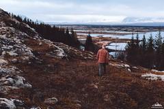Iceland mood (Oleh Slobodeniuk) Tags: travel lake man color film nature rock pine outdoors iceland walk grain tranquility journey sstone vsco thringvelir