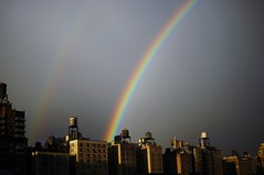 UWS Double Rainbow (Kociuszko) Tags: nyc newyorkcity roof sky newyork rooftop nature skyline lights rainbow rooftops double upperwestside doublerainbow sunshower uws roygbiv potofgold nycfeelings nypostnyc