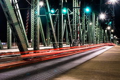 Hawthorne Bridge (pillarsoflight) Tags: city bridge red brown white trafficlights green beauty metal night oregon 35mm portland prime lights aperture nikon cityscape traffic trails adobe pdx lighttrails 18 pnw grates lightroom supports d3300