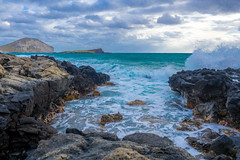 Splash! (Jeronimo Photography) Tags: ocean sea clouds island hawaii rocks waves pacific oahu crash wave hanaumabay micro43 olympusomdem10 olympused1240f28pro