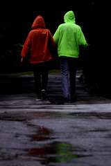 [ Le ragioni della ragione - Reason's reasons ] DSC_0478.2.jinkoll (jinkoll) Tags: couple people passing back steps puddle walking walk raining rain bled lake raincoat colors reflections water red green mac kway