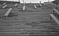 Down the Stairs (Santini1972) Tags: barcelona people blancoynegro silhouette stairs blackwhite forum steps silueta escaleras nikon35mm18 nikond5100