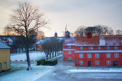 Rows, church and mill in Kastellet (Katya_N) Tags: winter sunset snow tree mill church horizontal copenhagen denmark rows fortress kastellet oresundregion