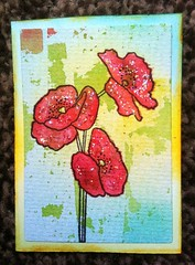 20. Poppies - available. (CraftyBev) Tags: atc inking stamping poppies flowers glitter watercolour