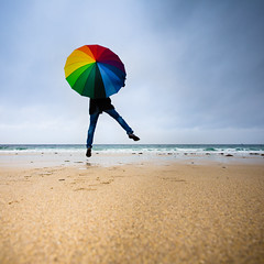 Jump on the beach (Zeeyolq Photography) Tags: ocean life sea france beach jump colorful bretagne
