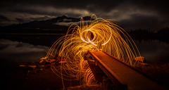 Lighting Up Vermilion (howardpa58) Tags: cram bc vermilionlakes banff clouds fire firespinning mountains night nightphotography paulhowardphoto paulhowardphotocom paulhowardphotography