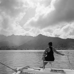 Under Cloud (Aaron Bieleck) Tags: ocean bw sun mountains 6x6 film rain sarah analog square landscape islands 120film catamaran frenchpolynesia hasselblad500cm filmisnotdead waistlevelviewfinder wlvf