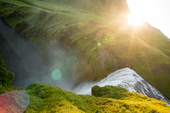 Iceland (Yann OG) Tags: iceland icelandic islande sland islandais waterfall cascade chutedeau skgafoss skgr grandangle wideangle flare vert green sunset coucherdesoleil heuredore goldenhour soleil sun rayon nature paysage landscape
