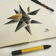 Multistar sketch  Poscapen and Pantone on moleskine (.krayon) Tags: sketch artwork handmade pixel pixelart multistar krayon pixelartist moleskimne