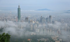 ~ Foggy morning  of Taipei101 and Xinyi  metropolitan District~ (PS兔~兔兔兔~) Tags: mist taipei fog tower travel highrise view mountains panoramic scenery skyline tour asia overpopulated metropolis moody architecture scape panorama megacity overcast buildings smog financial overlook cityscape metropolitan downtown taiwan aerial foggy urban landmark viewpoint morning dusk clouds modern skyscape brand famous cloudy city sky scenic skyscrapers scene beautiful crowded landscape blurry building environment environmental gas gloomy gray grey hazard hazardous haze hazy industrial misty overcrowded overpopulation pollution population threatening toxic unhealthy vague