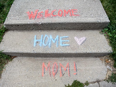 the universe is reminding me to call my mother (jojoannabanana) Tags: 3662016 canonpowershot chalk handwriting heart love rochester steps s100 urban