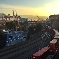 Saturday sunrise ~ March 7, 2015 #vancouver #saturday #sunrise #morningview #trains #cranes #mountains #portmetrovancouver (HappyBarbers) Tags: mountains vancouver sunrise square trains cranes squareformat vancity morningview iphoneography insidevancouver instagramapp uploaded:by=instagram