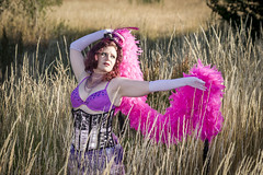 Saloon Girl Gone Bad-03 (eriknorderphotography) Tags: pink newzealand christchurch outdoors flash feathers burlesqueperformer sony70200f28g sonyalpha550