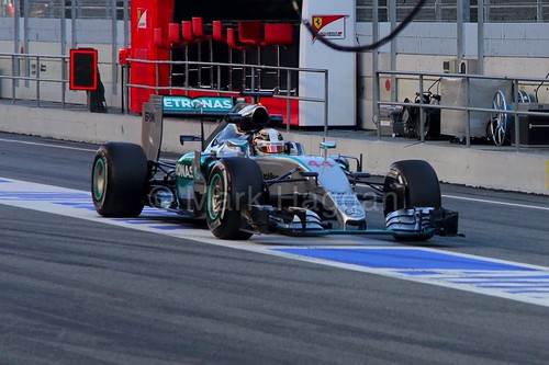 Lewis Hamilton in his Mercedes in Formula One Winter Testing 2015