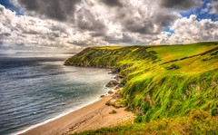 Lantic Bay (dkphotographs) Tags: ocean greatbritain sea england sky green beach clouds landscape bay coast seaside cornwall waves cliffs hills panasonic shore seashore hdr highdynamicrange cornish lanticbay southengland panasonicdmcfz150