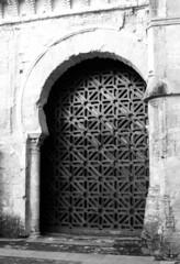 Entramado (Manuel Gayoso) Tags: espaa entramado byn blancoynegro reja puerta andalucia bn cordoba mezquita arco estrella columna herradura capitel