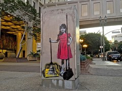 Sweeping Girl (tatsuya.ouchi) Tags: california road street city woman usa art girl wall lady female america painting la losangeles women paint downtown afternoon child cityhall fineart culture streetphotography wallart cleaning clean government broom sweeping dustpan