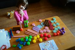 Rose and Her New Candy Construction Set! (Vegan Butterfly) Tags: building cute girl set toy creativity kid vegan construction child candy adorable homeschool homeschooling