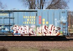 Spek/Arsn (quiet-silence) Tags: railroad art train graffiti railcar boxcar graff freight bmc goldenwest itd fr8 spek circlet arsn miniridge sp691936