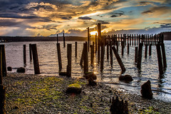Titlow-Beach Sunset-2_3-31-2015 (Rob Green - SmokingPit.com) Tags: park old bridge sea beach water canon bay washington pacific northwest south salt shoreline terminal filter shore lee sound 7d nd wa tacoma narrows puget waterway saltwater robgreen ferrydock titlow