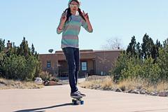 (K. Sawyer Photography) Tags: road trees portrait girl sunglasses skateboarding teen driveway adobe skateboard teenager thumbsup teenage placitasnewmexico