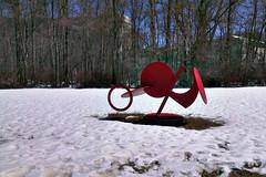 Unidentified Sculpture 2 (pedrik) Tags: winter sculpture usa snow metal connecticut gimp farmington retinex htconex 823652015