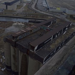 Damen Silos (ChicagoAintCool) Tags: street old sky usa streetart chicago building art cars water river graffiti illinois high midwest factory silos southside damen cmk damensilos
