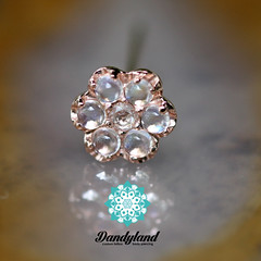Moonstone and Diamond Rose Gold Flower