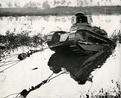 Pulling Renault FT-17, stuck in a swamp during the test