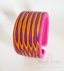 Polymer Clay - Bracelet Striped-1 (Paula Cruz - Polymer Clay Artist) Tags: pink colors true rosa jewelry bracelet faux cuff listras cermicaplstica bijuterias pte arcillapolimrica skinnerblendstriped texturaemcermica