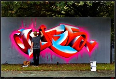 Working - Artist:  OUPS (pharoahsax) Tags: world street urban bw streetart get art colors wall writing germany painting deutschland graffiti artwork mural paint artist kunst tag tags spray peinture urbanart painter writer graff baden karlsruhe ka legal oups spraycan wrttemberg sden pmbvw worldgetcolors