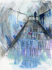 2016 06 29 black stairs (lilya_de) Tags: stairs watercolor mixedmedia aquarelle watercolour colourpencils