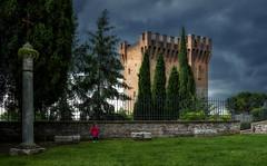Cassero di Porta di Sant'Angelo (R.o.b.e.r.t.o.) Tags: perugia pg umbria italia italy cassero giardino cipressi alberi torre castello bambina