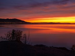 Steinkjer Sunset (oysteinha) Tags: ocean road sunset sky reflection water colors night clouds contrast self lens high nice bush sand warm raw glow purple outdoor tripod deep olympus calm sharp burning kit timer tif foreground steinkjer e520