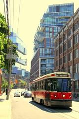 King Street East (wyliepoon) Tags: york light toronto office construction trolley ttc tram rail historic transit streetcar oldtown lrt downtowntoronto kingstreeteast designdistrict clrv globemailcentre