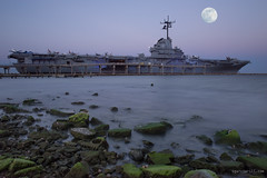 Blue Ghost moonrise (Sergio Garcia Rill) Tags: longexposure sea usa water us ship texas unitedstates corpuschristi usslexington navy moonrise bluehour aircraftcarrier oon 2016 blueghost