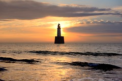 Sunrise over Rattray Head lighthouse (iancowe) Tags: uk sea summer lighthouse beach sunrise scotland aberdeenshire head north scottish stevenson stfergus fraserburgh peterhead northernlighthouseboard rattrayhead rattray nlb crimond rattrayheadlighthouse