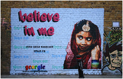East End Street Art (Mabacam) Tags: portrait streetart london wallart urbanart georgie aerosolart spraycanart eastend 2015 believeinme endchildmarriage