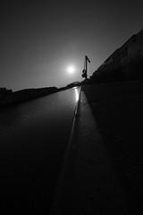 glücksbringer 1.1 (SBW-Fotografie) Tags: bw sun black water monochrome docks canon dark wasser sonnenuntergang sundown harbour crane sigma container sw monochrom hafen sonne kran dortmund schwarz dunkel weitwinkel 70d hafendortmund canoneos70d canon70d