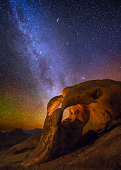 The View Through Cyclops Arch (Wayne Pinkston) Tags: nightphotography lightpainting night canon stars arch galaxy astrophotography nightsky milkyway alabamahills rockarch canon6d cyclopsarch landscapeastrophotography waynepinkston lightcraftercom wwwlightcraftercom