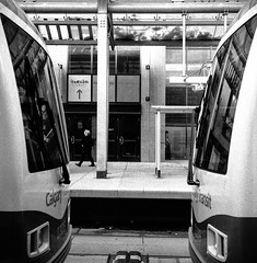 City Hall Stn (christait) Tags: street blackandwhite bw canada calgary station train cityhall hasselblad alberta transit yyc ctrain ilforddelta3200 500cm calgarytransit rodinal1100stand2hrs
