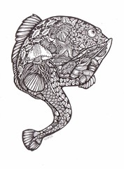 Reef Lurkers - Fishie Fish (artyshroo) Tags: sea fish seaside patterns doodle penink shroo zentangle wwwartyshrooblogspotcouk