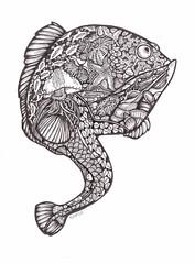 Reef Lurkers - Fishie Fish (artyshroo) Tags: sea fish seaside patterns doodle penink shroo zentangle wwwartyshrooblogspotcouk